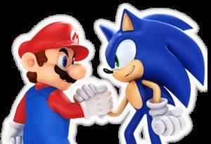 Mario et Sonic sont amis et se serrent la main