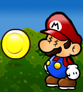 Mario regarde une piece en or