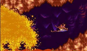 Stage spécial d'Aladdin sur Super NES à dos de tapis