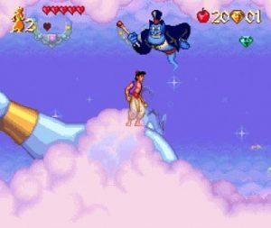 Le monde de la lampe du génie dans le jeu Aladdin sur Super Nes