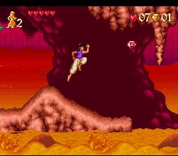 Aladdin saute pour attraper un rubis rouge sur Super Nintendo