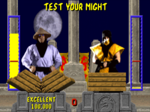 Petit jeu test your might dans Mortal Kombat Megadrive