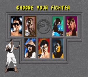 Ecran de sélection des personnages dans le jeu retro Mortal Kombat 1 sur Megadrive
