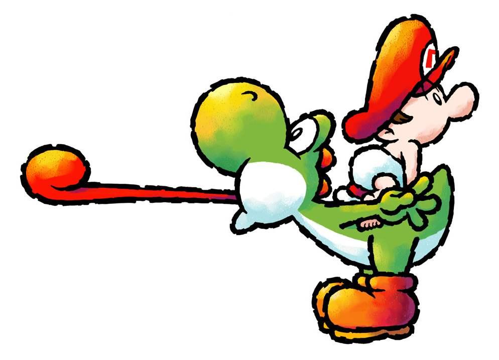 Yoshi avec Mario bébé sur son dos