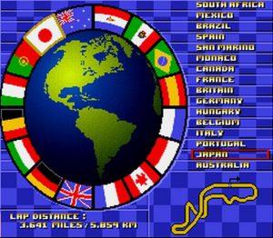 La liste des circuits et leurs informations dans Nigel Mansell's World Championship