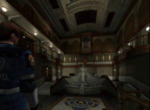 L'entrée du commissariat de Racoon City dans Resident Evil 2