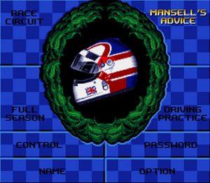 Ecran de sélection des modes de jeu dans Nigel Mansell's World Championship