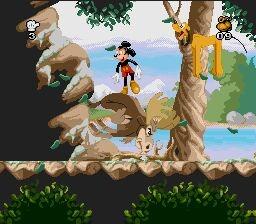 Une image du niveau Moose Hunter du jeu Mickey Mania sur Super Nintendo