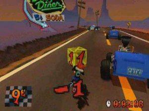 La course de moto dans Crash Bandicoot 3 Warped sur Playstation