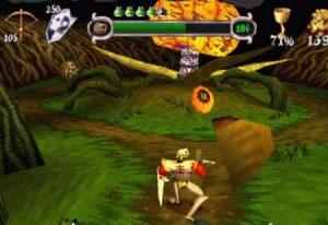 Le boss Serpent Potiron dans le jeu MediEvil sur Playstation