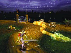 L'allié Roi Serpent dans le niveau du champ de bataille de Medievil sur Playstation