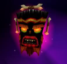 Le masque maléfique Uka Uka, boss dans Crash Bandicoot 3 sur Playstation