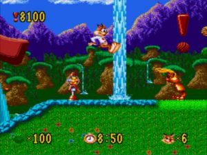 Le checkpoint en forme de point d'exclamation dans le jeu Bubsy