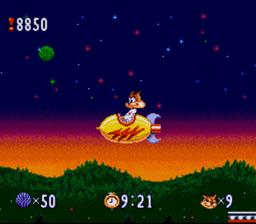Bubsy en fusée dans un stage spécial dans le jeu Bubsy sur SNES