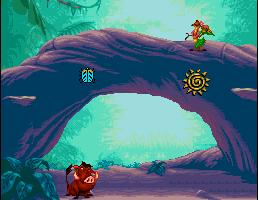 Le niveau bonus avec Timon et Pumbaa du jeu Roi Lion sur Snes