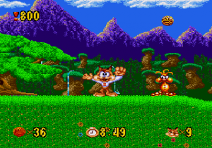 Bubsy a de nombreuses visages dans le jeu sur Megadrive