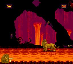 Le niveau du volcan / caverne en feu dans le jeu Roi Lion sur Snes