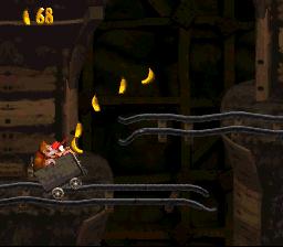 Le niveau du chariot dans Donkey Kong Country sur Super Nintendo