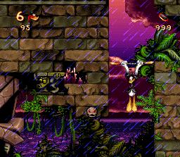 Donald en Cold Shadow utilise son bâton pour escalader les murs
