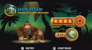 L'écran de fin de niveau dans le jeu Donkey Kong Country Returns sur Wii