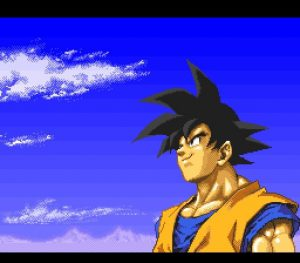Sangoku dans la scène d'introduction du jeu Dragon Ball Z Hyper Dimension sur SNES