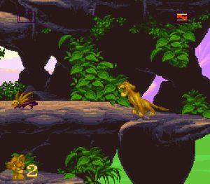 Simba rugit contre un Porc-épic dans le premier niveau du roi lion