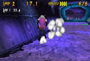 Le nuage de fumée dégagé par les personnages de Running Wild sur PS1