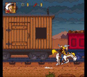 La séquence spéciale du train sur jolly jumper dans le jeu Lucky Luke sur Super Nintendo