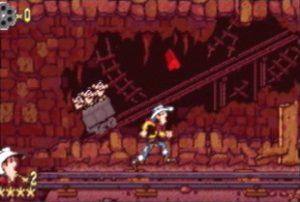 Le niveau de la mine dans le jeu Lucky Luke sur Super Nintendo