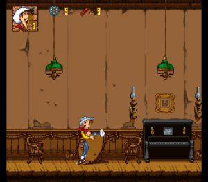 Le niveau du saloon de Coyote Gulch dans le jeu Lucky Luke sur Super Nintendo