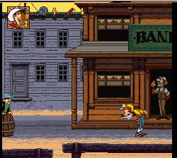 Un tir en arrière dans le jeu Lucky Luke sur Super Nintendo