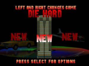 L'écran de sélection du jeu video Die Hard Trilogy sur PS1