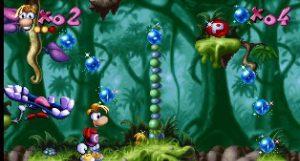 Deux types de bonus à ramasser dans Rayman 1 sur PS1
