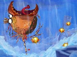 Le boss oiseau dans le jeu Rayman Origins sur XBox360
