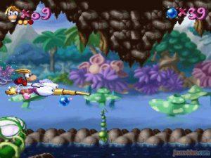 Un niveau avec le moustique dans Rayman 1 sur PS1