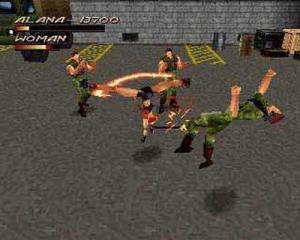 Un combo du personnage Alana dans le jeu Fighting Force sur PS1