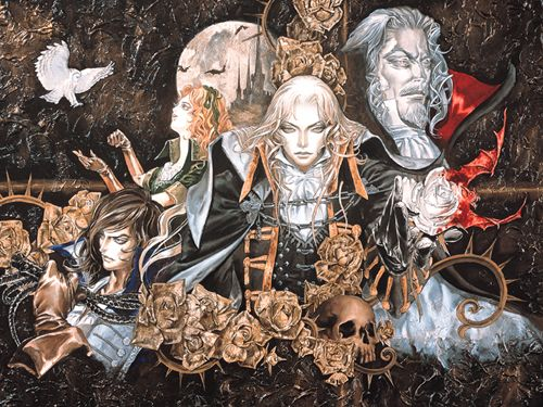 Un Artwork des personnages du jeu Castelvania Symphony of the Night