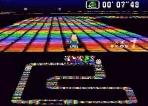 Le circuit Rainbow Road dans Super Mario Kart Super Nes