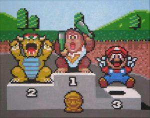 Un podium dans Super Mario Kart sur Super Nes