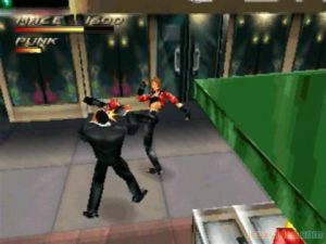 Un personnage fille du jeu Fighting Force sur Nintendo 64