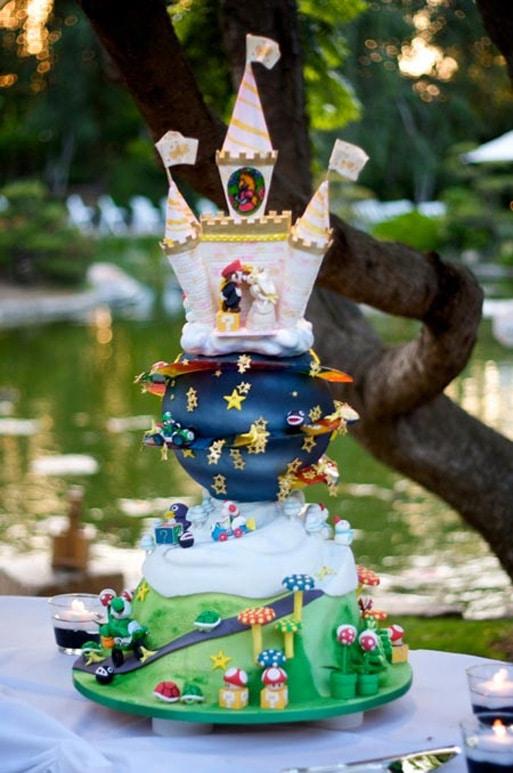 Un gâteau décoré Super Mario Galaxy