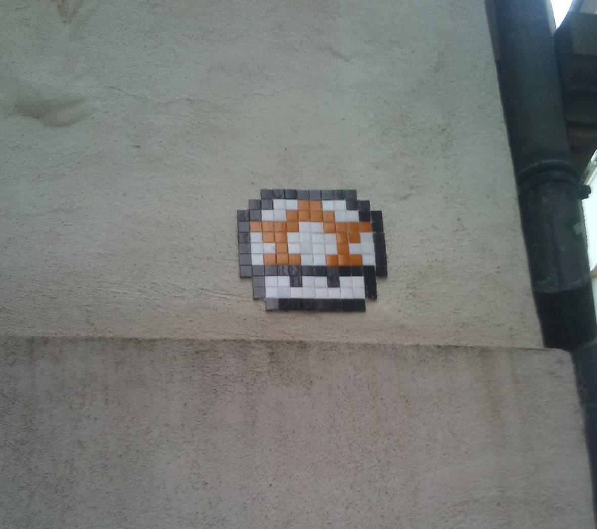 Une mosaïque Champignon Mario à Strasbourg