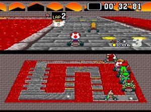 Circuit du chateau de Bowser dans Super Mario Kart sur Super Nes