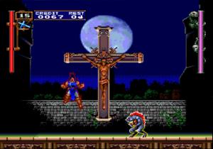 L'attaque spéciale de la croix dans le jeu Rondo of Blood