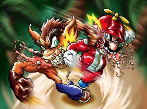 Crash Bandicoot et Mario se battent