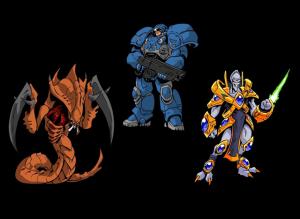 Les trois races de Starcraft : les Zergs, les Terrans et les Protoss