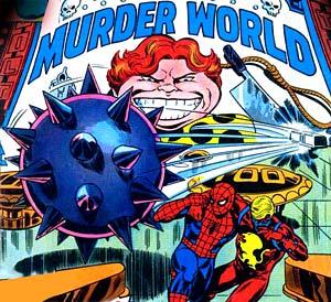 Une planche du comic Spider-Man avec Arcade