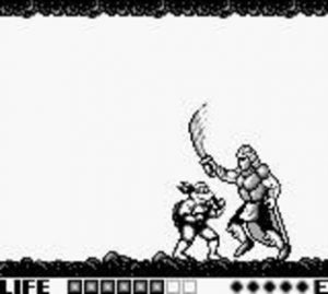 Le boss Shredder dans le jeu Tortues Ninja sur Game boy
