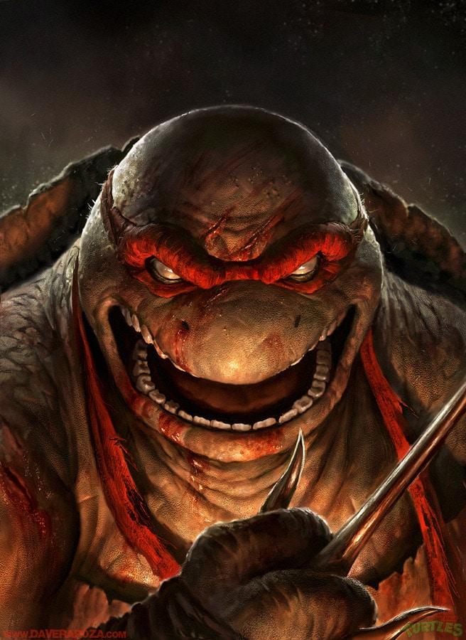 Artwork de la tortue Ninja Raphael par Dave Rapoza
