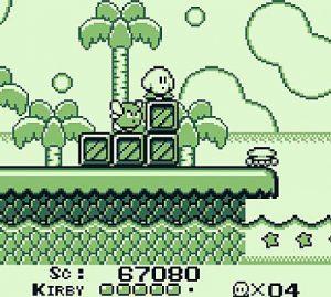 Le niveau 3 de la plage dans Kirby Dream Land sur Gameboy